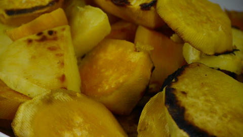 Rotation of delicious fried sweet potatoes Footage
