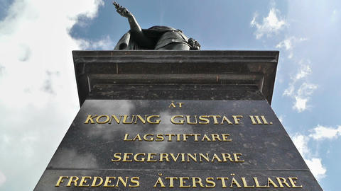 Gustaf III statue in Stockholm Sweden Clouds Timelapse Stock Video Footage