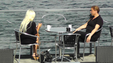 Ladies having cafe on a terrace bar Footage