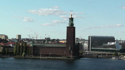 Stockholm City Hall and Central Railway Station Stock Video Footage