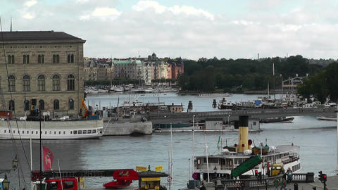 Stockholm Downtown 02 view from Gamla Stan Stock Video Footage