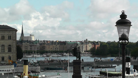 Stockholm Downtown 04 view from Gamla Stan Stock Video Footage