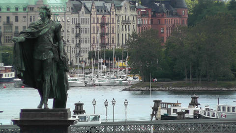 Stockholm Downtown 06 view from Gamla Stan Stock Video Footage