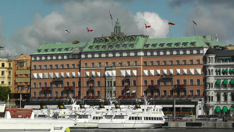 Stockholm Downtown 10 view from Gamla Stan Stock Video Footage