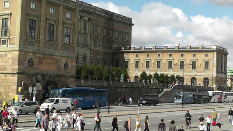 Stockholm Downtown 14 Royal Palace in Gamla Stan Stock Video Footage