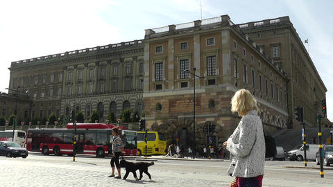 Stockholm Downtown 25 Royal Palace in Gamla Stan Stock Video Footage