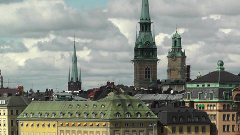Stockholm Downtown 40 Gamla Stan Clouds Timelapse Stock Video Footage