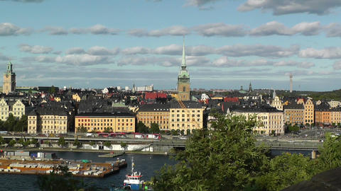 Stockholm pan from Gamla Stan to City Hall Stock Video Footage