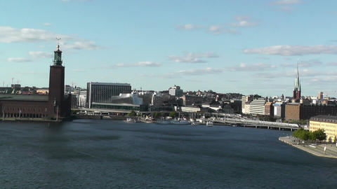 Stockholm pan from Gamla Stan to City Hall Footage