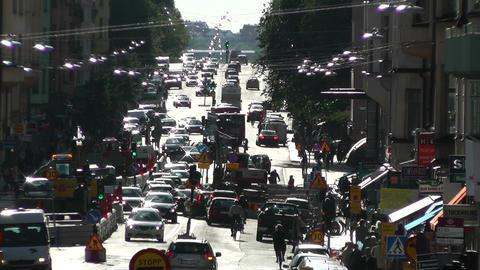 Stockholm Street 03 traffic Stock Video Footage