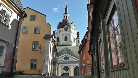 Stockholm Street and Katarina Church 01 Stock Video Footage