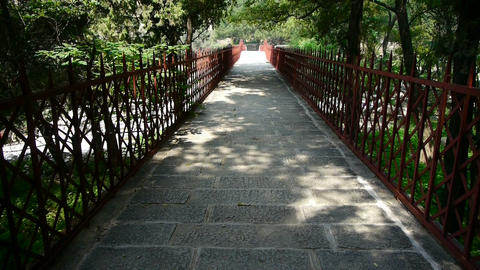 stone road with fence under shade of trees Stock Video Footage