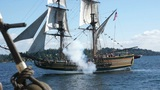 Lady Washington Fires On The Hawaiian Chieftain 14082 1 stock footage