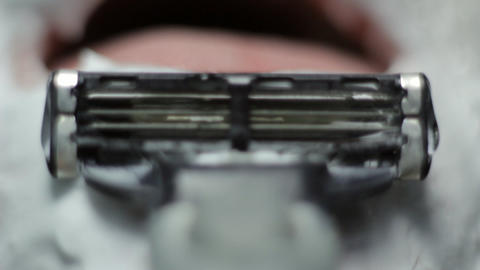razor shaves POV close up Stock Video Footage