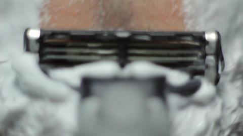 razor shaves POV close up Stock Video Footage