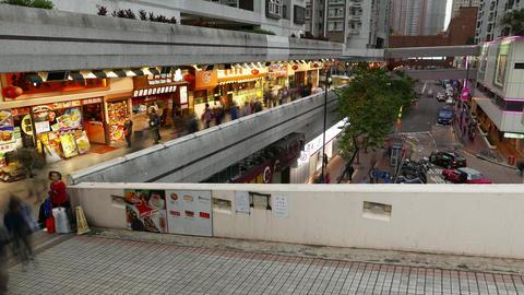Pedestrian walkway above ground, pedway around modern building, time lapse Footage