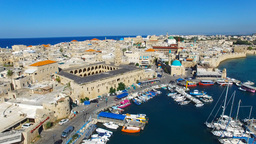 Aerial footage of the Port and old city of Acre, Israel Footage