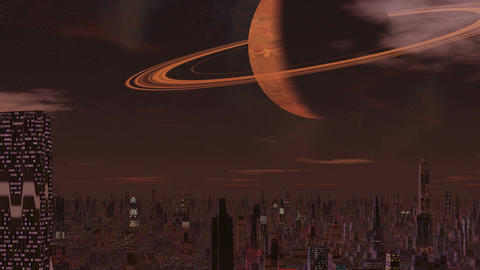 Foggy city of aliens and a huge planet Animation