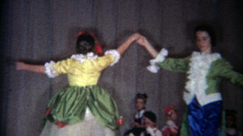 1966: Fairytale prince and princess dance in grade school production Footage