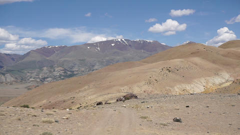 driving on a dirt road in the Altai mountains Footage