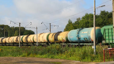 freight train with tanks moving by rail Footage