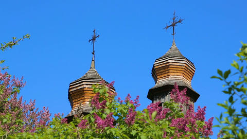 Wooden domes of Orthodox churches with crosses closeup Footage