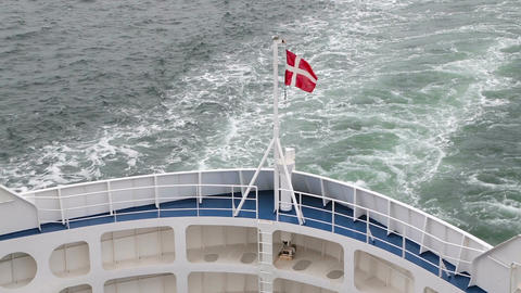 Danish flag fluttering in the wind on the ship Footage
