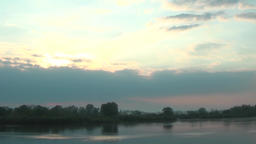 Morning sunrise, running clouds, fog, water steam river stream, barge Footage