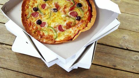 Delicious pizza in pizza box Footage
