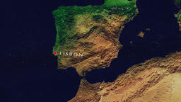 Lisbon Zoom In - Zoom to geographic earth from space Animation