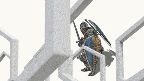 3d animation of medieval knight fighting with swords and shield Animation