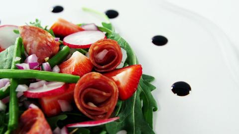 Salad on plate Footage