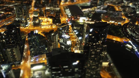 Night View of the Streets of Melbourne With Height. Night City Live Action