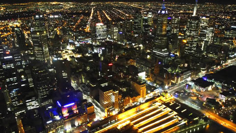Night View of the Streets of Melbourne With Height. Night City. on the Streets R Footage