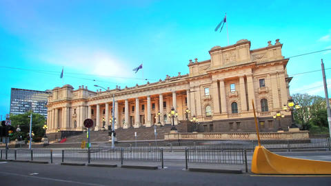 Parliament House of Victoria - Located in Melbourne Stock Video Footage