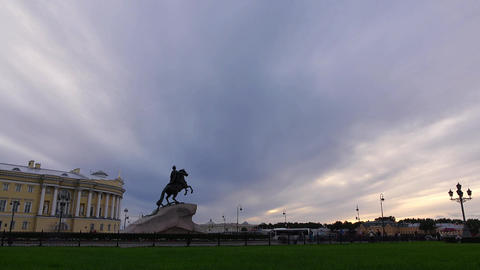 Senate Square time lapse at evening, solid clouds slide over Bronze Horseman Live Action