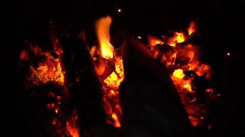 Beautiful Bonfire Lit At Night Footage
