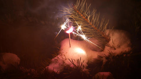 Bright sparkler stick at pine branch, quickly burn and fast slake out Footage