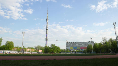 Standalone television and ratio tower, Ostankino in Moscow, large sport field Footage
