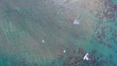 Aerial video of sea waves in shallow water Footage