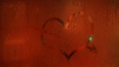 Heart Drawing With Your Finger On The Sweaty Glass Slow Motion Footage