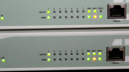 Network router with lights showing activity Footage