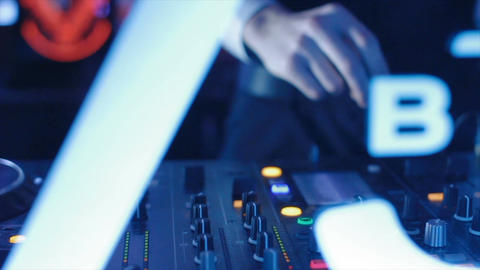 Closeup Musical Mixing Consol Guy Hand Touches Faders Live Action