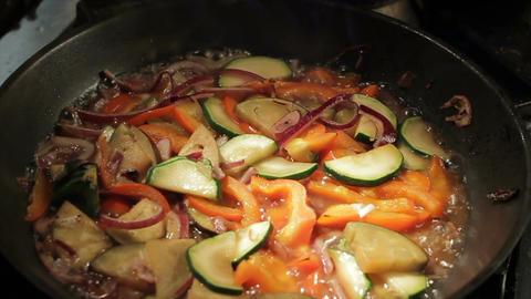 Macro Cut Vegetables Boil in Hot Oil on Pan Footage