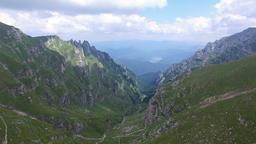 Aerial view over Bucegi mountains, Romania Footage