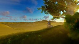 Grandfather on green meadow, resting under a tree at sunrise, tilt Animation