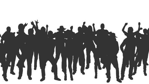 People crowd dancing in silhouettes, Pan, Full HD footage with alpha channel Footage