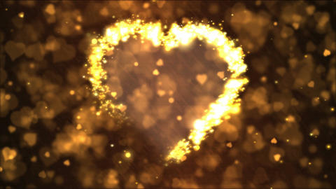 Heart Shape Motion Background Animation - Loop Golden, Stock Animation