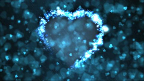 Heart Shape Motion Background Animation - Loop Blue Animation