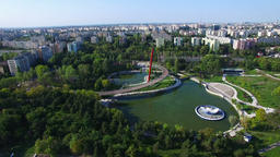 Aerial view of Moghioros park, Bucharest city, Romania Footage